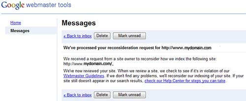 Google reconsideration request in Webmaster Tools